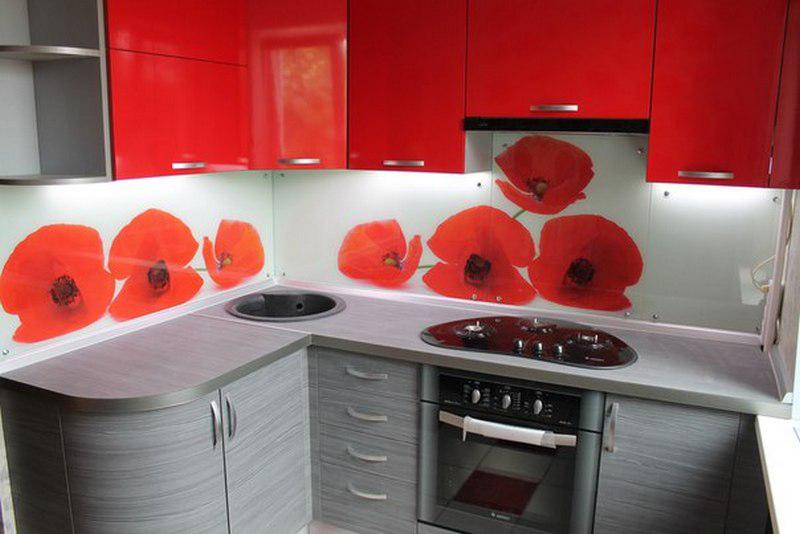 кухни угловые фото красные